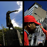 DAILY VENEZUELA II / VENEZUELA COTIDIANA II<br /> Photography by Aaron Sosa <br /> <br /> Left: Monument to Christopher Columbus in Macuro, Sucre State - Venezuela 2006 / Monumento a Cristobal Colon en Macuro, Estado Sucre - Venezuela 2007<br /> <br /> Right: Chavez supporters March - Caracas - Venezuela 2006 / Marcha de Simpatizantes de Chavez, Caracas / Venezuela 2006<br /> <br /> (Copyright © Aaron Sosa)