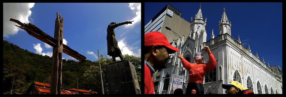 DAILY VENEZUELA II / VENEZUELA COTIDIANA II<br /> Photography by Aaron Sosa <br /> <br /> Left: Monument to Christopher Columbus in Macuro, Sucre State - Venezuela 2006 / Monumento a Cristobal Colon en Macuro, Estado Sucre - Venezuela 2007<br /> <br /> Right: Chavez supporters March - Caracas - Venezuela 2006 / Marcha de Simpatizantes de Chavez, Caracas / Venezuela 2006<br /> <br /> (Copyright © Aaron Sosa)