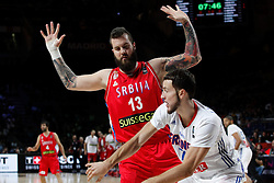 12.09.2014, City Arena, Madrid, ESP, FIBA WM, Frankreich vs Serbien, Halbfinale, im Bild France´s Bogdanovic (R) and Serbia´s Raduljica // during FIBA Basketball World Cup Spain 2014 semifinal match between France and Serbia at the City Arena in Madrid, Spain on 2014/09/12. EXPA Pictures © 2014, PhotoCredit: EXPA/ Alterphotos/ Victor Blanco<br /> <br /> *****ATTENTION - OUT of ESP, SUI*****