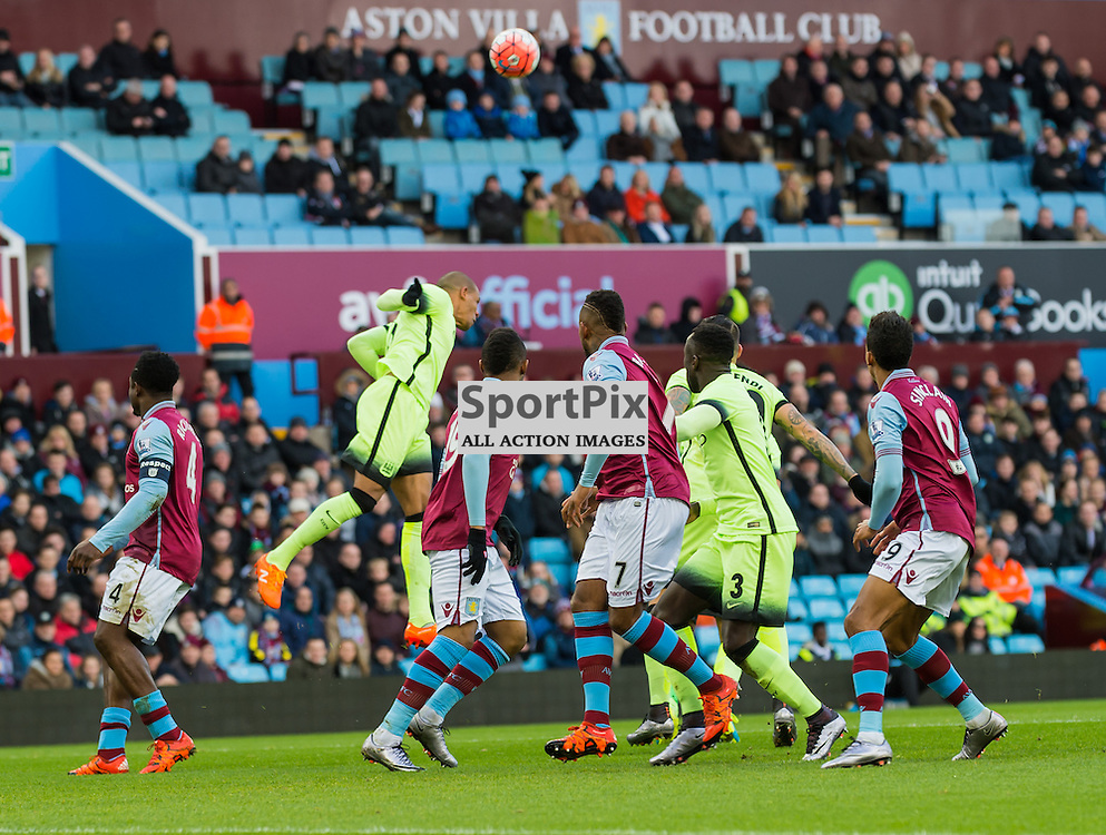 Manchester City midfielder Fernando (6) gets in a clearing header in the FA cup 4th Round game between Aston Villa and Manchester City<br /> <br /> (c) John Baguley | SportPix.org.uk