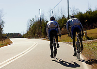 Discovery Channel Pro Cycling Team racers George Hincapie (left) and Ryder Hesjedal on a training ride. Long successful in the European classics, in addition to being Lance Armstrong's right hand man on the team, Hincapie took his first Tour de France stage win in 2005.<br />