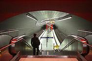 DEU, Germany, Ruhr area, Bochum, subway station Lohring [the station was designed by the architects Ruebsamen and Associates, Eva-Maria Joeressen designed the light-concept, the whole glass platform is illuminated].....DEU, Deutschland, Ruhrgebiet, Bochum, U-Bahn Station Lohring [die Station wurde von dem Architekturbuero Ruebsamen und Partner entworfen und mit Lichtinstallationen der Kuenstlerin Eva-Maria Joeressen ausgestattet. Der glaeserne Bahnsteig ist von unten beleuchtet].....[For each usage of my images the General Terms and Conditions are mandatory.]