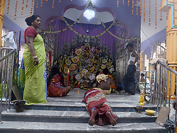 May 10, 2017 - Kolkata, West Bengal, India - Women perform ?dondi? rituals on the occasion of Brahma Puja festival in Hooghly. Local people worship Brahma, Hindu God of creation on the full moon day of Boishak( the first month of Bengali Calendar) at a small village of Hooghly 60km away from Kolkata. (Credit Image: © Saikat Paul/Pacific Press via ZUMA Wire)
