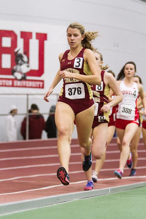 Boston University Multi-team indoor track & field, women one mile, heat 1, Boston College, 376