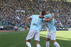 April 22, 2018 - Rome, Lazio, Italy - Stefan De Vrji and Ciro Immobile celebrating the gol of 2-0 .With two goal per time SS Lazio beat Sampdoria 4-0 (32'  Sergej Milinkovic, 43'  Stefan De Vrij, 85' Ciro Immobile, 88 Ciro Immobile) and make a step ahead for the fight for third place in Italian Serie A (Credit Image: © Paolo Pizzi/Pacific Press via ZUMA Wire)