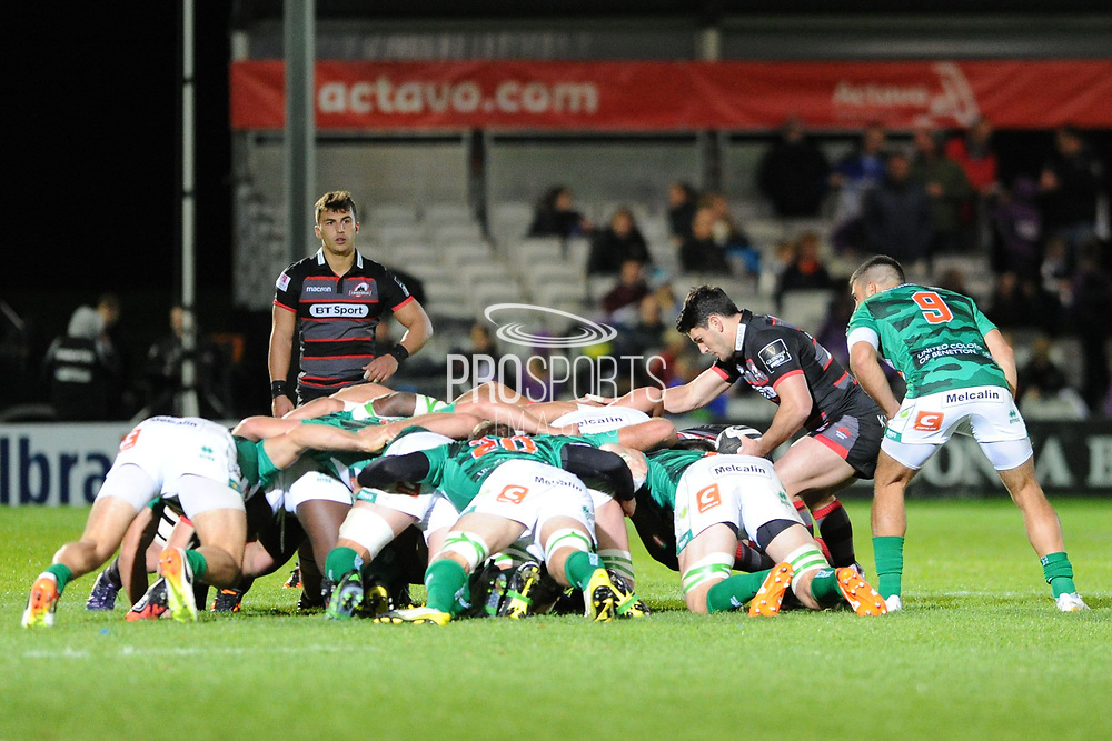 Sam Hidalgo-Clyne puts in during the Guinness Pro 14 2017_18 match between Edinburgh Rugby and Benetton Treviso at Myreside Stadium, Edinburgh, Scotland on 15 September 2017. Photo by Kevin Murray.