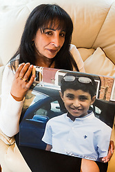 Rina Nagra, 52, whose son Karan, 13, who suffered from numerous serious allergies, died 10 days after a prank at school where he had contact with cheese, which caused him to go into anaphylactic shock. London, April 26 2019.