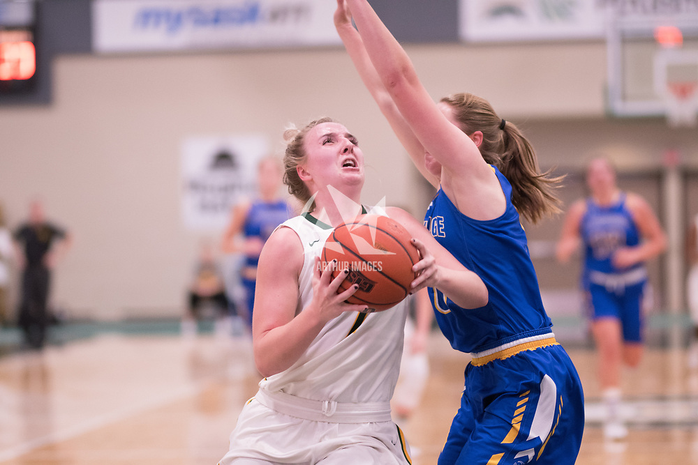 5th year guard Sara Hubenig (7) of the Regina Cougars during the Women's Basketball home game on November 24 at Centre for Kinesiology, Health and Sport. Credit: Arthur Ward/Arthur Images