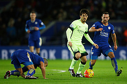 David Silva of Manchester City (C) and Daniel Drinkwater of Leicester City (R)   - Mandatory byline: Jack Phillips/JMP - 07966386802 - 29/12/2015 - SPORT - FOOTBALL - Leicester - King Power Stadium - Leicester City v Manchester City - Barclays Premier League