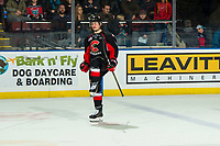 KELOWNA, CANADA - JANUARY 4: Tyson Upper #9 of the Prince George Cougars celebrates the shoot out winning goal against the Kelowna Rockets on January 4, 2019 at Prospera Place in Kelowna, British Columbia, Canada.  (Photo by Marissa Baecker/Shoot the Breeze)