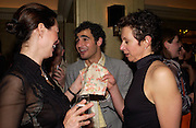 Celia Forner, Zac Posen and Victoria Fernandez, Sean Ellis and Tagheuer host party to launch the photo book, 365: Ayear in fashion, Claridge's Bar. 20 May 2003. © Copyright Photograph by Dafydd Jones 66 Stockwell Park Rd. London SW9 0DA Tel 020 7733 0108 www.dafjones.com