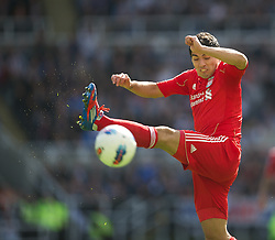 NEWCASTLE-UPON-TYNE, ENGLAND - Sunday, April 1, 2012: Liverpool's Luis Alberto Suarez Diaz in action against Newcastle United during the Premiership match at St James' Park. (Pic by David Rawcliffe/Propaganda)