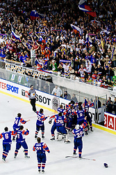 Slovenian players and fans after winning the tournament at IIHF Ice-hockey World Championships Division I Group B match between National teams of Hungary and Slovenia, on April 23, 2010, in Tivoli hall, Ljubljana, Slovenia. (Photo by Matic Klansek Velej / Sportida)