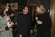 Cristina Macmillan, Viscount Linley and Mrs. Paul Kitchener, Reception and auction of Wildlife and Sporting Art in aid of the game Conservancy Trust. Christie's. King St. London W1. 12 December 2006. ONE TIME USE ONLY - DO NOT ARCHIVE  © Copyright Photograph by Dafydd Jones 248 CLAPHAM PARK RD. LONDON SW90PZ.  Tel 020 7733 0108 www.dafjones.com