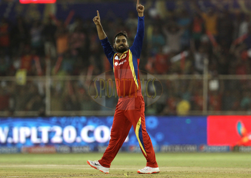 Royal Challengers Bangalore player Iqbal Abdullah celebrates the wicket Rajasthan Royals player Deepak Hooda during match 22 of the Pepsi IPL 2015 (Indian Premier League) between The Rajasthan Royals and The Royal Challengers Bangalore held at the Sardar Patel Stadium in Ahmedabad , India on the 24th April 2015.<br /> <br /> Photo by:  Vipin Pawar / SPORTZPICS / IPL