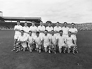 Neg no:.B142/9571-9579...23081959AISFCSF..23.08.1959, 08.23.1959, 23rd August 1959..All Ireland Senior Football Championship - Semi-Final..Galway.01-11..Down.01-04...Galway. ..J. Farrell, J. Kissane, S. Meade, M. Greally, M. Garrett, J. Mahon, S. Colleran, F. Evers, Matty McDonagh, J. Young, S. Purcell (Captain), Ml. McDonagh, M. Laide, F. Stockwell, J. Nallen.Subs: J. Keeley for Nallen, P. Dunne for Greally.S. Purcell (Captain)....