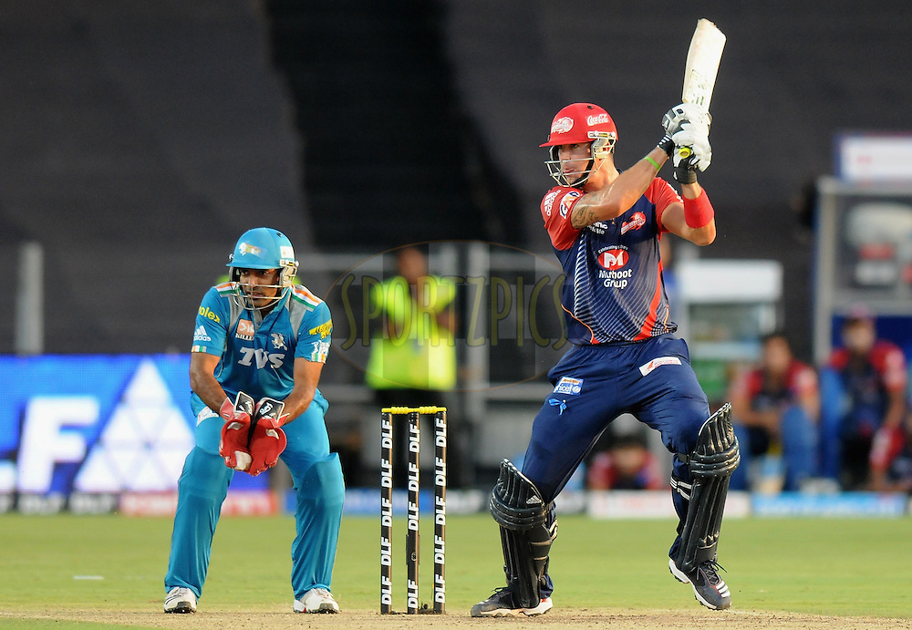 Kevin Pietersen of Delhi Daredevils bats during match 31 of the Indian Premier League ( IPL) 2012  between The Pune Warriors India and the Delhi Daredevils held at the Subrata Roy Sahara Stadium, Pune on the 24th April 2012..Photo by Pal Pillai/IPL/SPORTZPICS.