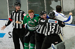 Nik Grahut of SZ Olimpija in fight with Brandon McNally of Broncos during ice hockey match between HK SZ Olimpija and WSV Sterzing Broncos Weihenstephan (ITA) in Round #12 of AHL - Alps Hockey League 2018/19, on October 30, 2018, in Hala Tivoli, Ljubljana, Slovenia. Photo by Vid Ponikvar / Sportida