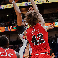Oct 3, 2017; New Orleans, LA, USA; New Orleans Pelicans forward Anthony Davis (23) shoots over Chicago Bulls center Robin Lopez (42) during the second half of a NBA preseason game at the Smoothie King Center. The Bulls defeated the Pelicans 113-109. Mandatory Credit: Derick E. Hingle-USA TODAY Sports