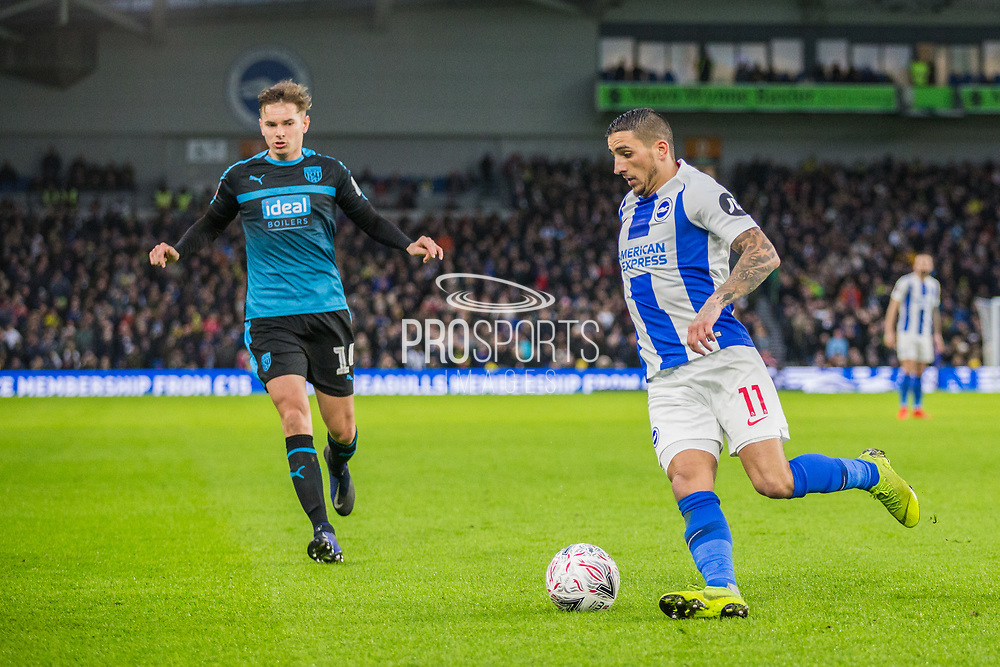 Anthony Knockhaert (Brighton) with the ball and being pursued by Conor Townsend (West Brom) during the FA Cup fourth round match between Brighton and Hove Albion and West Bromwich Albion at the American Express Community Stadium, Brighton and Hove, England on 26 January 2019.
