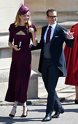 Suits actor Gabriel Macht and his wife Jacinda Barrett arrive at Windsor Castle for the wedding of Prince Harry and Meghan Markle.