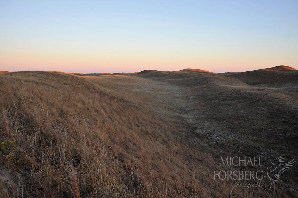Nebraska Sandhills region..Sandhills landscape last light.