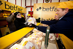 Repro Free: 05/12/2012.Sarah Hogan pictured as Betfair gave away 150 free turkeys to members of the public as part of their ?Beat the Budget? campaign. Pic Andres Poveda.