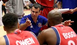 Head Coach of Bristol Flyers Andreas Kapoulas gives a team talk - Mandatory by-line: Robbie Stephenson/JMP - 08/09/2016 - BASKETBALL - SGS Arena - Bristol, England - Bristol Flyers v USA Select - Preseason Friendly