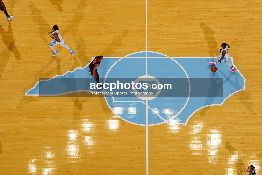 CHAPEL HILL, NC - JANUARY 26: An overhead general view of the court of the Dean Smith Center during a game between the North Carolina Tar Heels and the Virginia Tech Hokies on January 26, 2017 in Chapel Hill, North Carolina. North Carolina won 91-72. (Photo by Peyton Williams/UNC/Getty Images)
