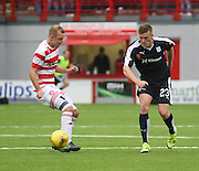 Dundee's Rhys Healey and Hamilton Academical's Grant Gillespie - Hamilton Academical v Dundee, Ladbrokes Premiership at New Douglas Park<br /> <br /> <br />  - &copy; David Young - www.davidyoungphoto.co.uk - email: davidyoungphoto@gmail.com