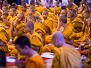 02 APRIL 2015 - CHIANG MAI, CHIANG MAI, THAILAND: Buddhist monks and novices pray in Wat Chedi Luang in Chiang Mai during a prayer service to mark the 60th Birthday celebrations for HRH Princess Maha Chakri Sirindhorn, daughter of Bhumibol Adulyadej, the King of Thailand, and his wife, Queen Sirikit. The Princess is revered by most Thais and her birthday is celebrated throughout Thailand.    PHOTO BY JACK KURTZ