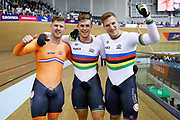 Men Team Sprint, Netherlands, HOOGLAND Jeffrey, LAVREYSEN Harrie, VAN DEN BERG Roy, VAN T H N, during the UEC Track Cycling European Championships Glasgow 2018, at Sir Chris Hoy Velodrome, in Glasgow, Great Britain, Day 2, on August 3, 2018 - Photo Luca Bettini / BettiniPhoto / ProSportsImages / DPPI - Belgium out, Spain out, Italy out, Netherlands out -