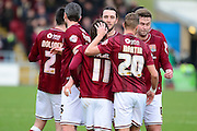 The Cobblers  during the Sky Bet League 2 match between Northampton Town and Morecambe at Sixfields Stadium, Northampton, England on 23 January 2016. Photo by Dennis Goodwin.