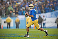17 October 2012: Quarterback (17) Brett Hundley of the UCLA Bruins rolls out to pass against the USC Trojans during the second half of UCLA's 38-28 victory over USC at the Rose Bowl in Pasadena, CA.