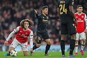 Vitória Guimarães midfielder Rochinha (16) protests after he fouling Arsenal midfielder Mattéo Guendouzi (29) during the Europa League match between Arsenal and Vitoria SC at the Emirates Stadium, London, England on 24 October 2019.