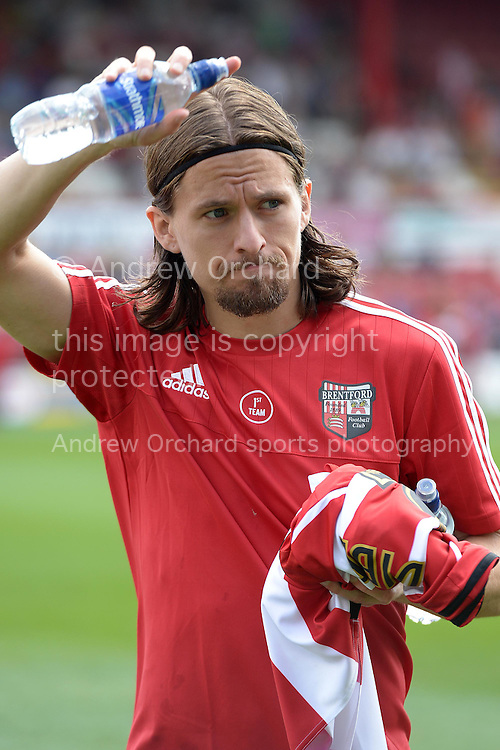 Lasse Vibe of Brentford arrives before k/o. Skybet football league Championship match, Brentford v Ipswich Town at Griffin Park in London on Saturday 8th August 2015.<br /> pic by John Patrick Fletcher, Andrew Orchard sports photography.