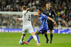 10.03.2015, Estadio Santiago Bernabeu, Madrid, ESP, UEFA CL, Real Madrid vs Schalke 04, Achtelfinal, R&uuml;ckspiel, im Bild Real Madrid&acute;s Toni Kroos and FC Shalke 04&acute;s Leroy Sane // during the UEFA Champions League Round of 16, 2nd Leg match between Real Madrid and Schakke 04 at the Estadio Santiago Bernabeu in Madrid, Spain on 2015/03/10. EXPA Pictures &copy; 2015, PhotoCredit: EXPA/ Alterphotos/ Luis Fernandez<br /> <br /> *****ATTENTION - OUT of ESP, SUI*****