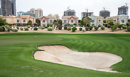 1st green at The Els Club , Dubai, United Arab Emirates.  28/01/2016. Picture: Golffile | David Lloyd<br /> <br /> All photos usage must carry mandatory copyright credit (© Golffile | David Lloyd)