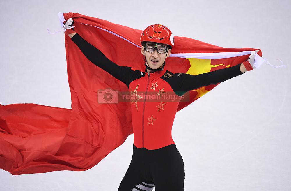 PYEONGCHANG, Feb. 22, 2018  Wu Dajing of China celebrates victory after men's 500m final of short track speed skating at the 2018 PyeongChang Winter Olympic Games at Gangneung Ice Arena, Gangneung, South Korea, Feb. 22, 2018. Wu Dajing claimed gold medal in a time of 0:39.584 and set new world record. (Credit Image: © Ju Huanzong/Xinhua via ZUMA Wire)