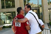 Issam Tej / Mladen Bojinovic - 17.06.2015 - Proces des paris sportifs du Handball - Montpellier<br /> Photo : Alexandre Dimou / Icon Sport