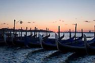 Gondolas at sunrise in the Venetian Lagoon near Piazza San Marco;  Venice, Italy