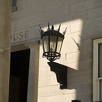 Victorian gas light sconce on the Dedham Court House wall