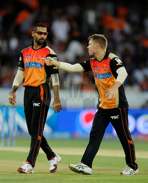 Shikhar Dhawan captain of the Sunrisers Hyderabad and David Warner of the Sunrisers Hyderabad during match 39 of the Pepsi Indian Premier League Season 2014 between the Sunrisers Hyderabad and the Kings XI Punjab held at the Rajiv Gandhi Cricket Stadium, Hyderabad, India on the 14th May  2014<br /> <br /> Photo by Pal Pillai / IPL / SPORTZPICS<br /> <br /> <br /> <br /> Image use subject to terms and conditions which can be found here:  http://sportzpics.photoshelter.com/gallery/Pepsi-IPL-Image-terms-and-conditions/G00004VW1IVJ.gB0/C0000TScjhBM6ikg