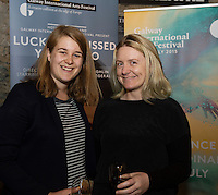 "Zoe Quinn and Jen Coppinger at the World Premiere of the ""Luck Just Kissed you Hello""by Amy Conroy in the Mick Lally theatre (Druid) on the opening night of Galway international Arts Festival. Photo:andrew Downes xposure"