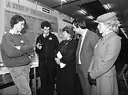 11/01/1985.01/11/1985.11th January 1985.The Aer Lingus Young Scientist Exhibition at the RDS Dublin ..Killian Fitzgerald, (left) and Larry Mooney, (second from left) of St. Thomas' Community College, Bray, Co. Wicklow showing their Group Project in the Senior Section of the Biological Science Division to Gemma Hussey T.D., Minister for Education, George Birmingham, Minister of State at the Department of Labour  and Sally Anne Flanagan, Aer Lingus Hostess.