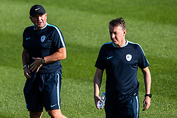 Matjaz Kek head coach of Slovenian national team with Igor Benedejcic assistant coach during practice session of Slovenian national football team in national football center in Brdo, 2nd of September, 2019, NNC Brdo. Photo by Grega Valancic / Sportida