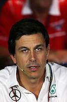 Toto Wolff (GER) Mercedes AMG F1 Shareholder and Executive Director in the FIA Press Conference.<br /> Italian Grand Prix, Friday 5th September 2014. Monza Italy.