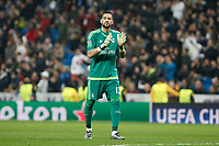 Real Madrid´s Kiko Casilla celebrates during 2015/16 Champions League soccer match between Real Madrid and Malmo at Santiago Bernabeu stadium in Madrid, Spain. December 08, 2014. (ALTERPHOTOS/Victor Blanco)