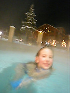Emma in outdoor hot tub, Crested Butte