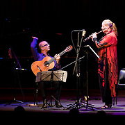 May 14, 2011 - Manhattan, NY : .Tara Helen O'Connor (flute) and David Leisner (guitar) perform Osvaldo Golijov's 'Fish Tale' during Symphony Space's Wall to Wall Sonidos concert on Saturday night. .CREDIT: Karsten Moran for The New York Times